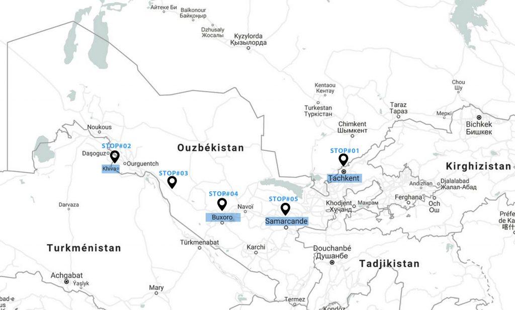 voyage-ouzbekistan-carte-itinéraire