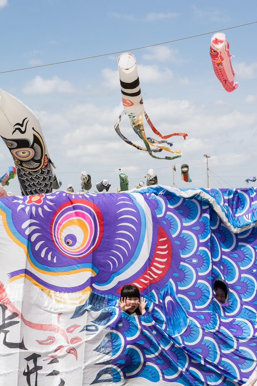 Kodomo No Hi à deux heures de Tokyo à Kokubun river avec les carpes koinobori