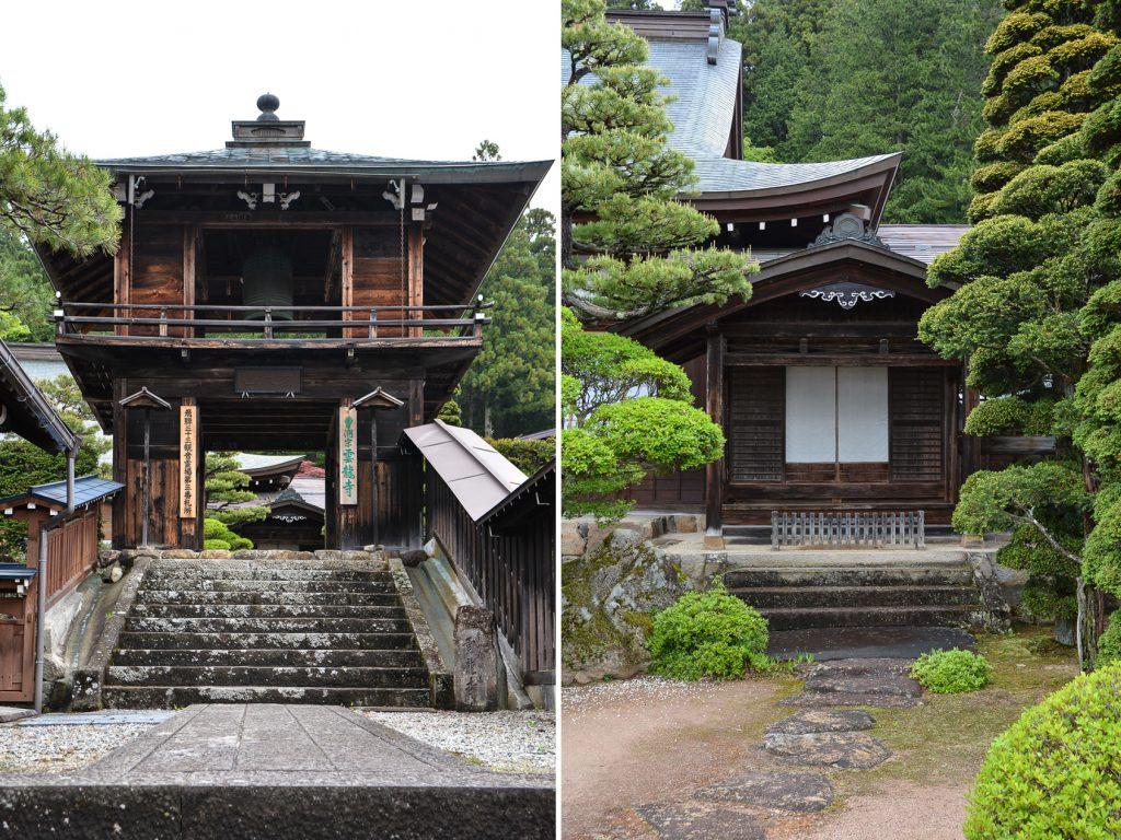 temples de Higashiyama Teramachi avec le temple Unryuji à Takayama dans les alpes japonaises, Japon
